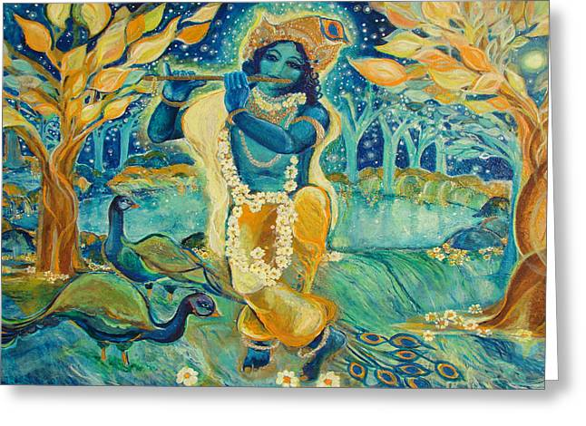My Krishna is Blue Greeting Card by Ashleigh Dyan Bayer