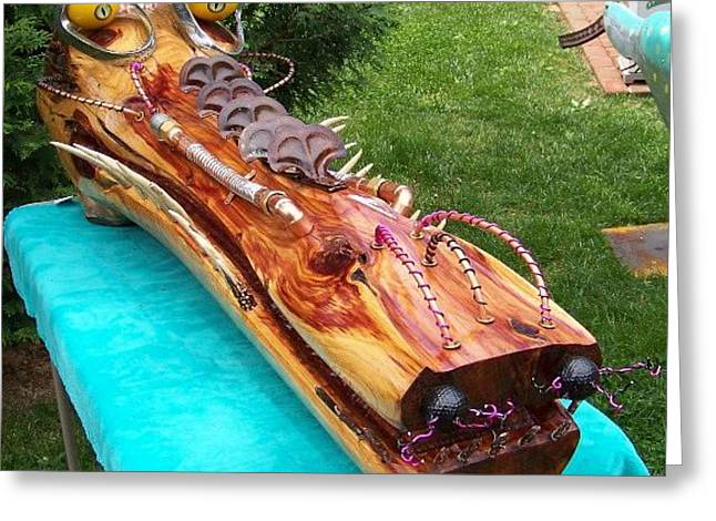 Outsider Art Sculptures Greeting Cards - My Life A Croc Of Greeting Card by Robert Chine Thomas