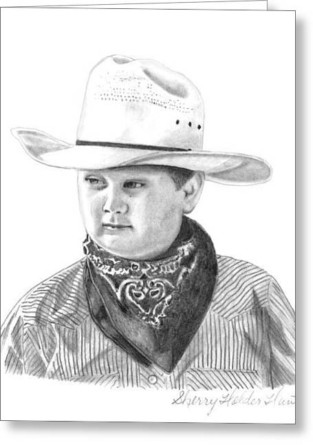Cowboy Pencil Drawings Greeting Cards - My Little Cowboy Greeting Card by Sherry Holder Hunt