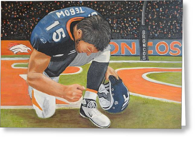 My Man Tebow Greeting Card by Lynette Brown