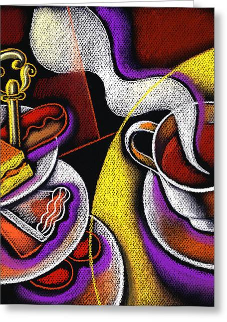 Teacup Greeting Cards - My Morning Coffee Greeting Card by Leon Zernitsky