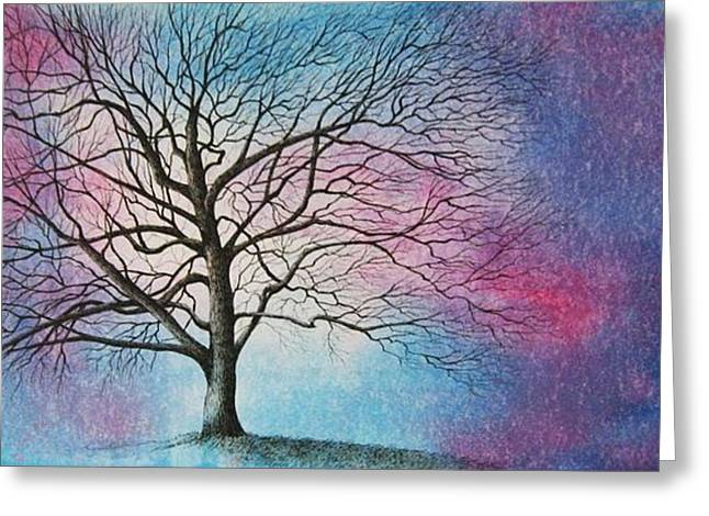 Bare Trees Drawings Greeting Cards - My Oak Tree Greeting Card by MaryAnn Stafford