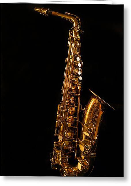 Marching Band Greeting Cards - Portrait of My Old Sax Greeting Card by Jean Noren
