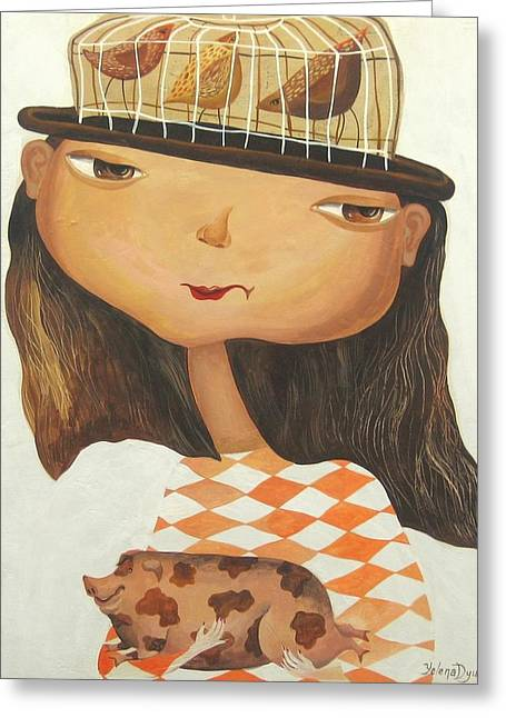 Girl And Animals Framed Prints Greeting Cards - My pets Greeting Card by Yelena Dyumin