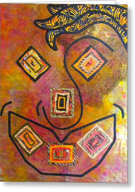 Face Tapestries - Textiles Greeting Cards - My place or Yours Greeting Card by Doria Goocher