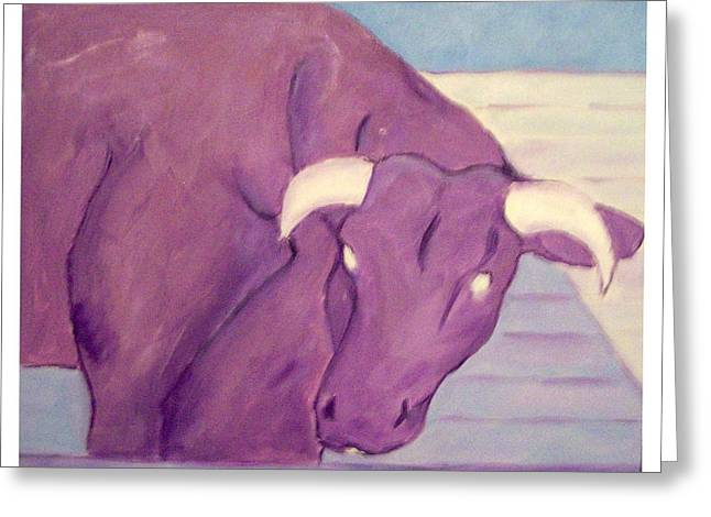 Sue Prideaux Greeting Cards - My Purple Cow Greeting Card by Sue Prideaux