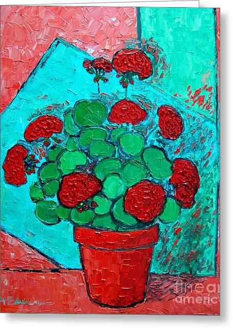 Original Pottery Greeting Cards - My Red Geranium Greeting Card by Ana Maria Edulescu