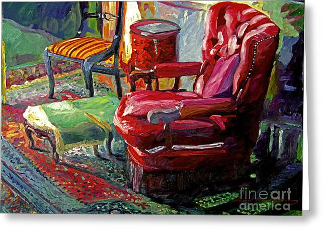 Persian Rug Greeting Cards - My Red Reading Chair Greeting Card by David Lloyd Glover