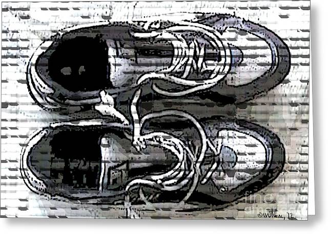 Shoe String Greeting Cards - My Running Shoes Greeting Card by Walter Oliver Neal