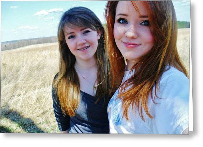 Self-portrait Greeting Cards - My sister and me Greeting Card by Samantha Howell