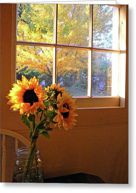 Sunflower Patch Greeting Cards - My Sisters Kitchen Window Greeting Card by Pamela Patch