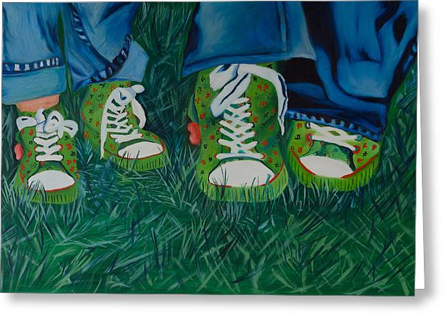 High Top Tennis Shoes Greeting Cards - My Sisters Shoes Greeting Card by Sherrie Phillips