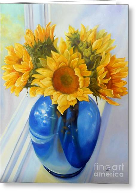 Still Life By Window Greeting Cards - My Sunflowers Greeting Card by Marlene Book