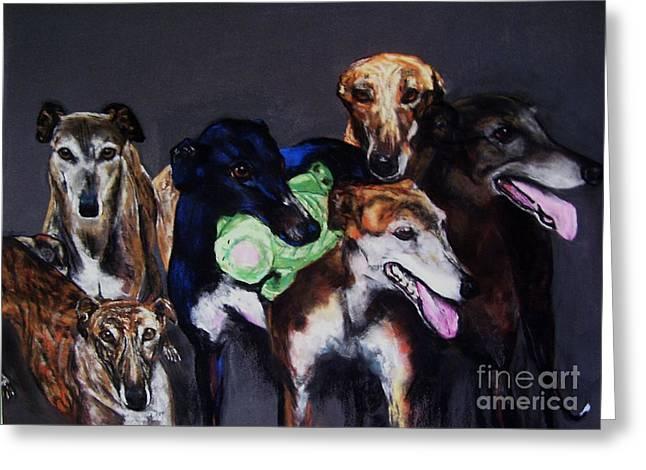 Greyhound Dog Greeting Cards - My teachers Greeting Card by Frances Marino