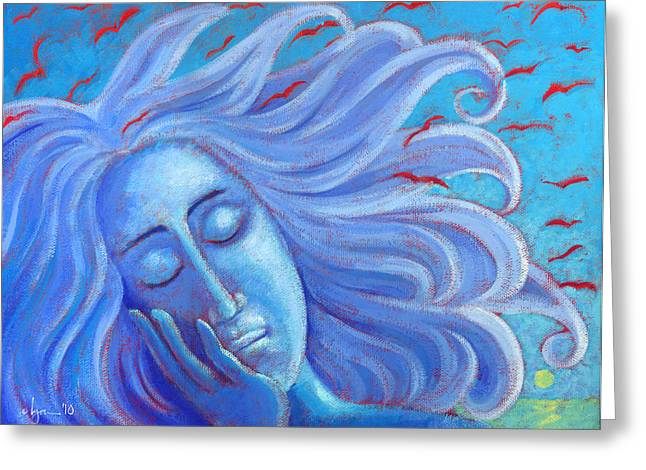 Ocean Artist Greeting Cards - My Thoughts Fly Far Beyond Me Greeting Card by Angela Treat Lyon