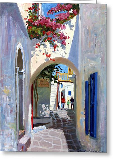 Archways Greeting Cards - Mykonos Archway Greeting Card by Roelof Rossouw