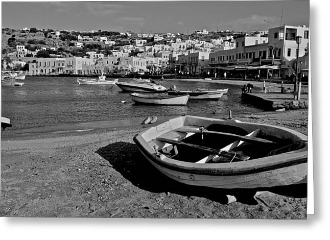 Mykonos Boats Greeting Card by Eric Tressler