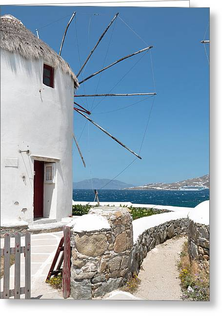 Sea View Greeting Cards - Mykonos Greeting Card by Laura Melis