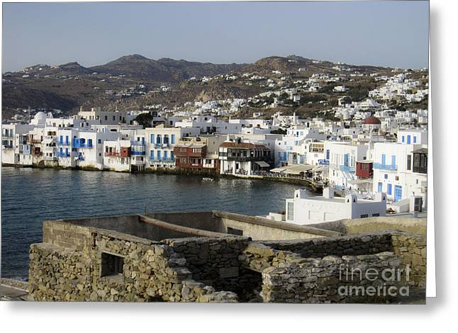 Leslie Leda Greeting Cards - Mykonos Greeting Card by Leslie Leda