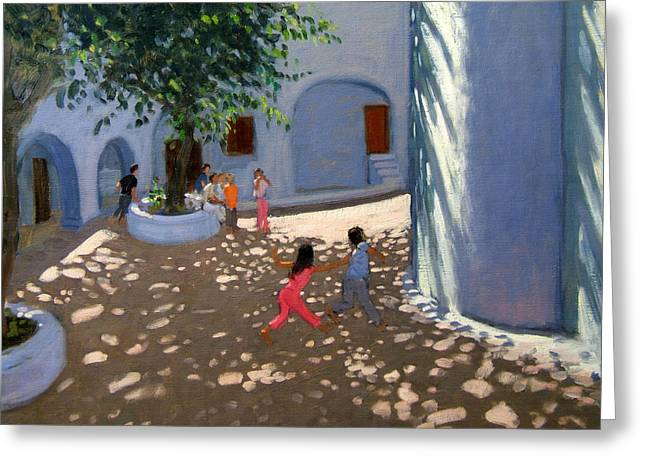 Courtyard Greeting Cards - Mykonos monastery Greeting Card by Andrew Macara
