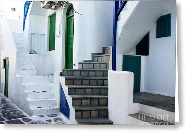 Mykonos Stairs Greeting Card by Rebecca Margraf