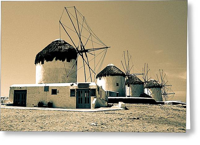 Still Life By Window Greeting Cards - Mykonos Town Windmills Greeting Card by Floyd Menezes