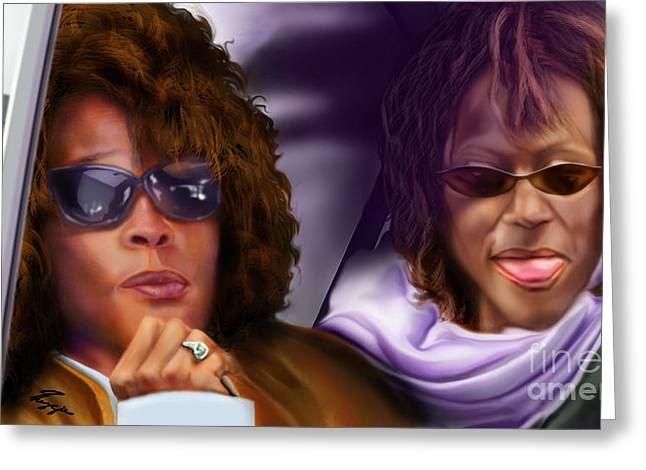 Whitney Houston Greeting Cards - Myself and I - Whitney Greeting Card by Reggie Duffie