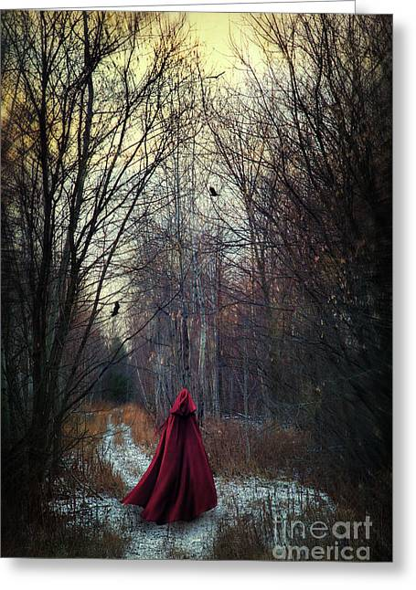 """""""strange Trees"""" Greeting Cards - Mysterious figure wearing red cape walking in woods Greeting Card by Sandra Cunningham"""