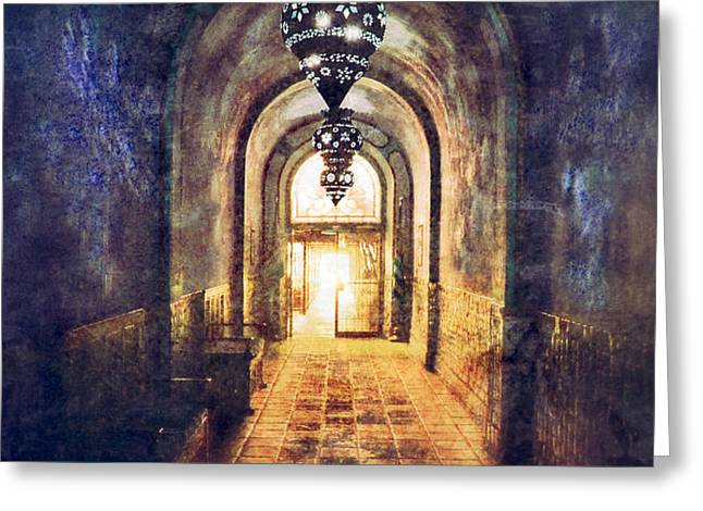 Mysterious Hallway Greeting Card by Jill Battaglia