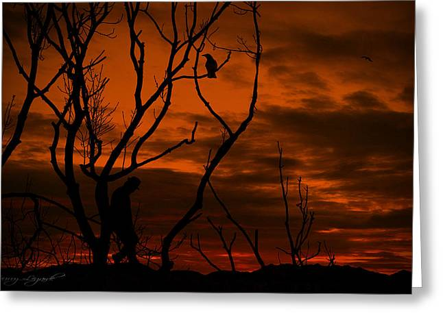 Canvas Crows Greeting Cards - Mysterious Stranger Greeting Card by Lourry Legarde