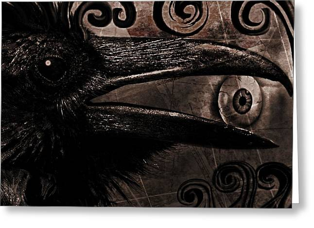 Crow Greeting Cards - Mystery and Magic Greeting Card by Tisha McGee