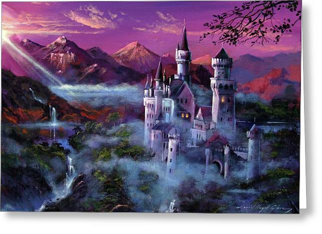 Most Paintings Greeting Cards - Mystery Castle Greeting Card by David Lloyd Glover