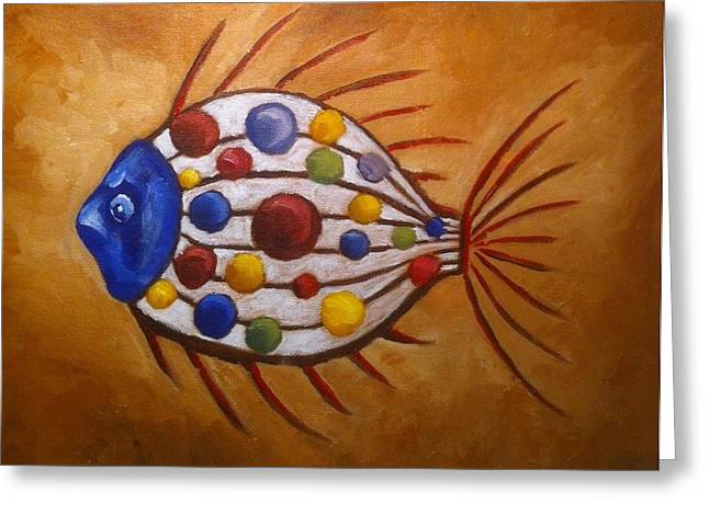Bubbly Paintings Greeting Cards - Mystery Fish Greeting Card by Stephanie Reid