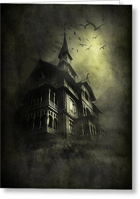 Abandoned House Mixed Media Greeting Cards - Mystery light Greeting Card by Svetlana Sewell