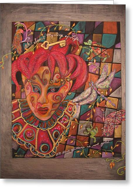 Jester Mixed Media Greeting Cards - Mystery Greeting Card by Marlene Robbins