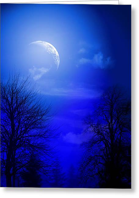 Waterscape Mixed Media Greeting Cards - Mystic Night Greeting Card by Mark Ashkenazi
