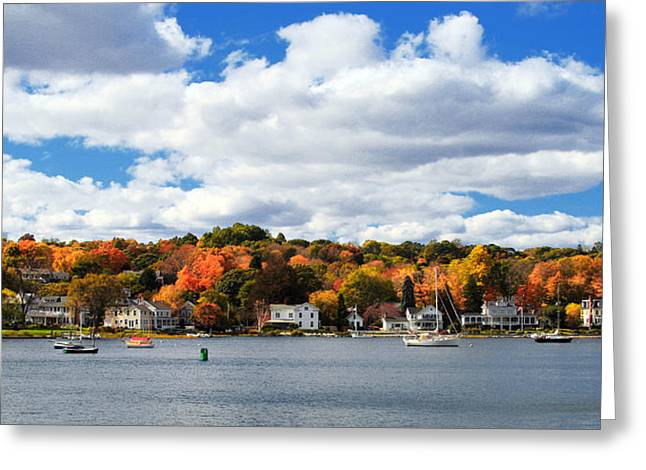 Classic New England Greeting Cards - Mystic River in Autumn Greeting Card by Stephanie McDowell