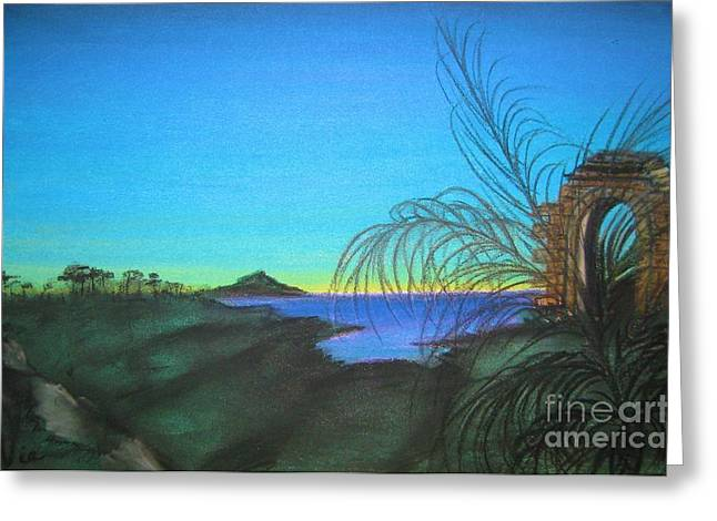 Mystical Landscape Pastels Greeting Cards - Mystical Island Portal at Dawn Greeting Card by Judy Via-Wolff