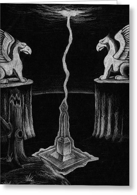 Monolith Drawings Greeting Cards - Mystical Monolith Greeting Card by Corey Finney