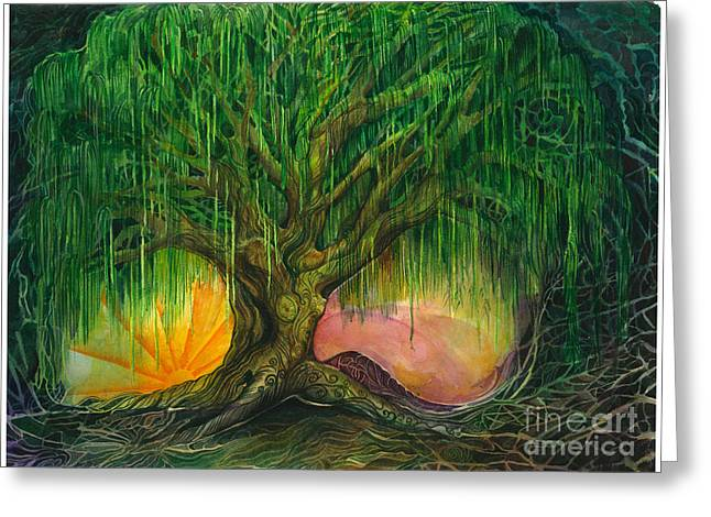 Transformation Of Life Greeting Cards - Mystical Willow Greeting Card by Colleen Koziara
