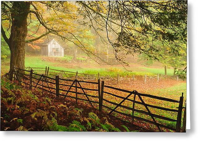 Shed Photographs Greeting Cards - Mystique - A Connecticut Autumn scenic Greeting Card by Thomas Schoeller