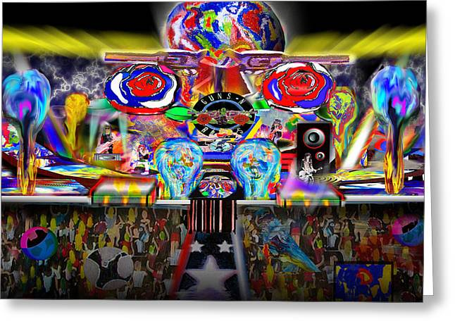 Pyrotechnics Paintings Greeting Cards - Mythic Greeting Card by Brian Cole