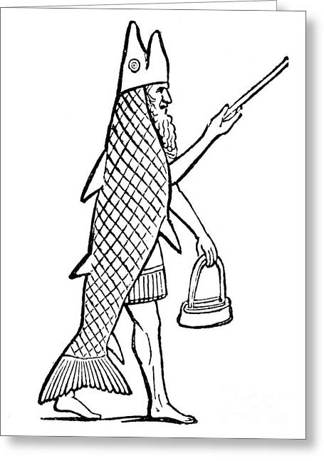 Babylon Greeting Cards - Mythology: Oannes (dagon) Greeting Card by Granger