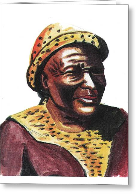 Zimbabwe Drawings Greeting Cards - Mzilikazi Greeting Card by Emmanuel Baliyanga