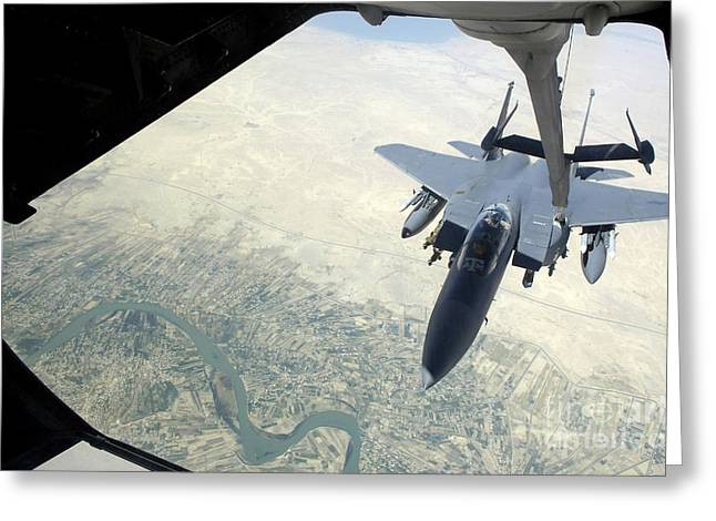 Baghdad Greeting Cards - N F-15e Strike Eagle Receives Fuel Greeting Card by Stocktrek Images