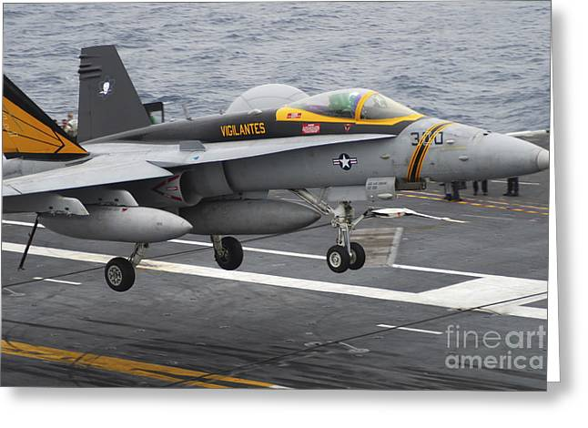 F-18 Greeting Cards - N Fa-18f Super Hornet Lands Aboard Greeting Card by Stocktrek Images
