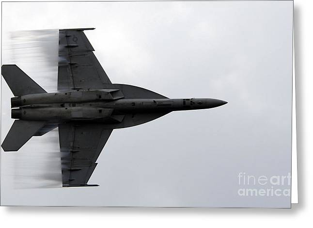F-18 Greeting Cards - N Fa-18f Super Hornet Speeds Greeting Card by Stocktrek Images