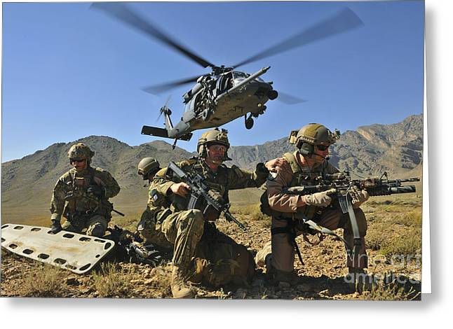 Headset Greeting Cards - N Hh-60g Pave Hawk Hovers Greeting Card by Stocktrek Images