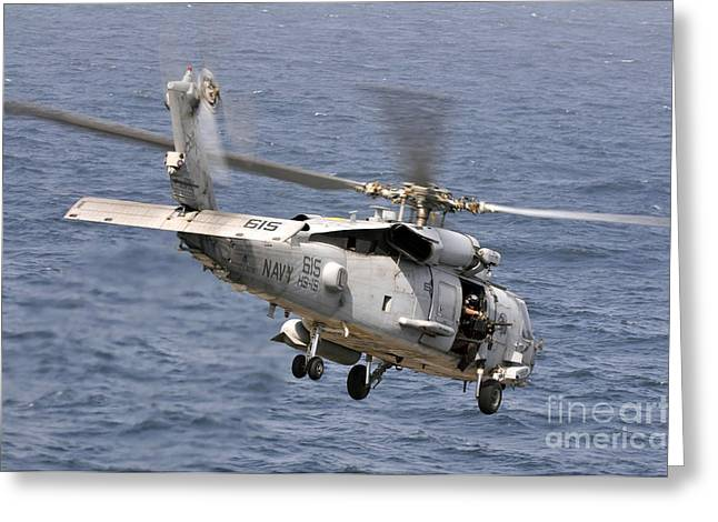Carrier Greeting Cards - N Hh-60h Sea Hawk Helicopter In Flight Greeting Card by Stocktrek Images