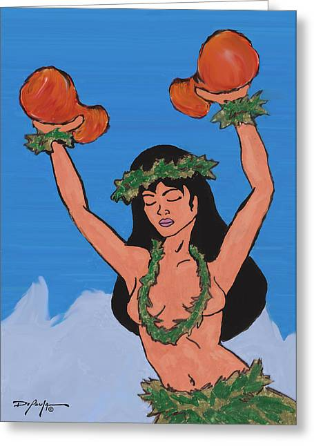 Online Art Pastels Greeting Cards - Na auao Hula Girl  Greeting Card by William Depaula